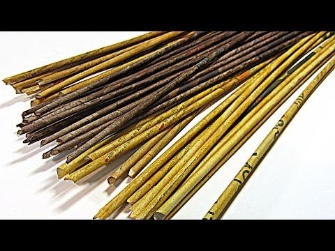 Cómo hacer y pintar palitos (varillas) de papel periódico. How to make paper sticks. - YouTube