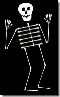How to make Q-tip skeleton pictures; a good group art project for younger students or for Halloween.
