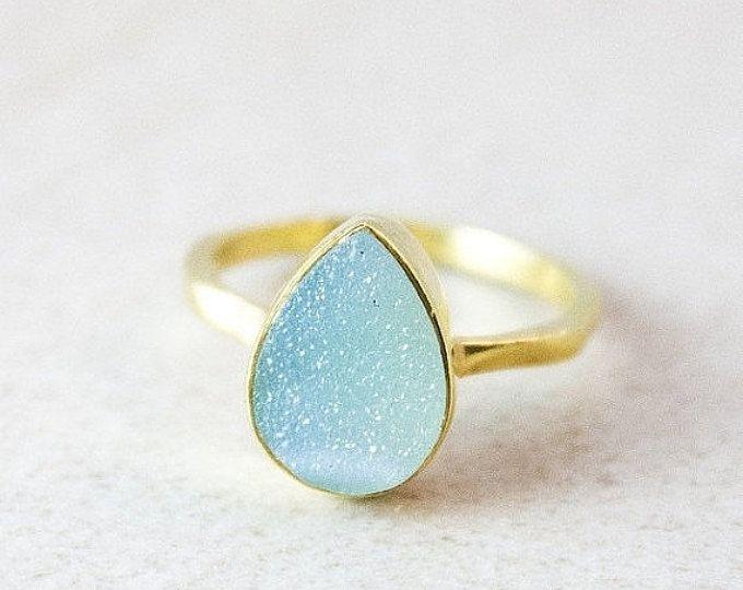 Blue Druzy Ring - Teardrop Druzy Ring - Stackable Rings, Gold