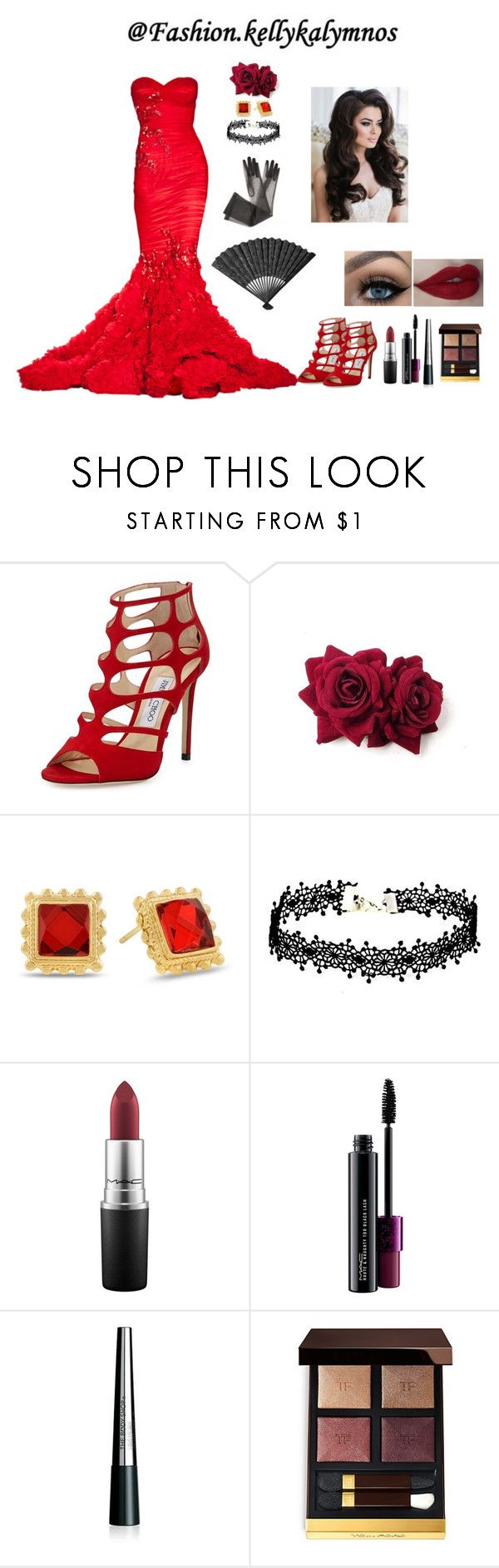 """Haute Couture"" by kellykalymnoskd on Polyvore featuring Zuhair Murad, Jimmy Choo, Adoriana, MAC Cosmetics, The Body Shop and Tom Ford"