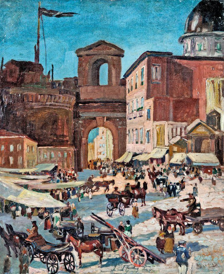 Aukció: 2016. december 14.: Olasz festő; Római piactér; olaj, vászon