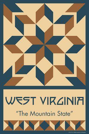 WEST VIRGINIA quilt block.  Ready to sew. Single 4x6 block $4.95.