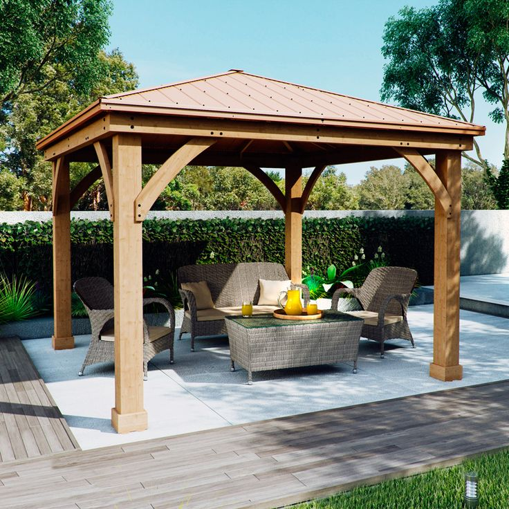 Costco uk solowave 12 x 12ft 3 6 x cedar pergola with peaked aluminium solid roof for Pergola aluminium x