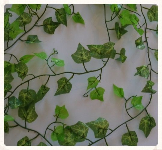 Artificial ivy vine garland, 2.4 meters long! These long pieces of green artificial ivy will bring the outside in at your wedding reception, run it along your tables or hang it from the ceiling. Only £2.99 each! www.picketfenceweddings.co.uk