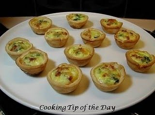 This recipe for Mini Spinach and Bacon Quiches is so easy…. you will never buy the commercial mini quiches again…. for a fraction of the cost you can have delicious mini quiches… perfect for a party or a snack while watching the game….You can make these ahead a number of ways…. since they're so easy to make…. I assemble everything except I add the egg/milk mixture just before I bake them…. they come out perfect every time. You can also freeze them after totally assembling them ...