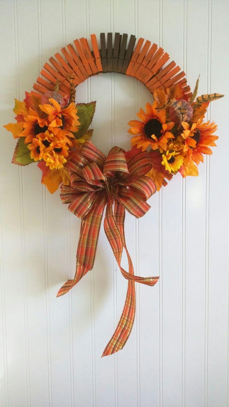 My Fall Pumpkin Clothes Pin Wreath