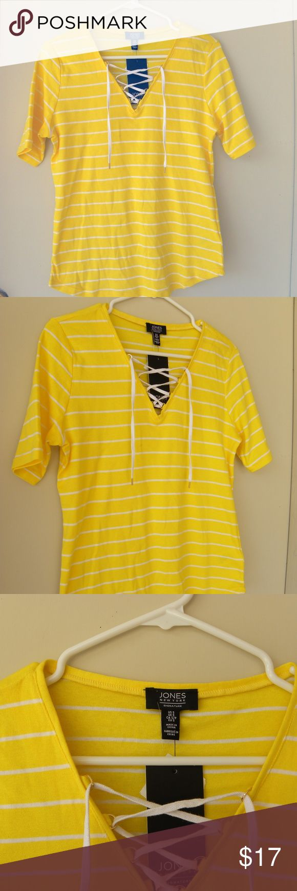 NWT JNC Jones New York Signature Yellow Blouse Tee JNC Jones New York Signature  Yellow/White  Striped  Top Blouse  Size S  Women's  Front Lace Up Accent on Neck area. (white lace) JNC Jones New York Signature Tops Tees - Short Sleeve