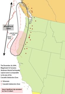 Area of the Cascadia subduction zone, including the Cascade Volcanic Arc (red triangles), site of recurring megathrust earthquakes at average intervals of about 500 years, including the Cascadia Earthquake of 1700.  USGS