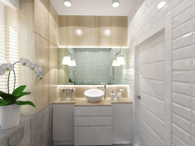 Kolejne pomieszczenie z projektowanego przeze mnie mieszkania. Tym razem szaro-biała łazienka z ...