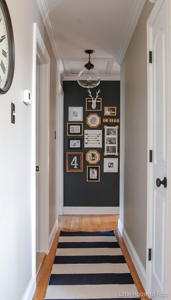 A Hallway Gets A Major Update With Paint, Thrifted Finds And Inexpensive  Dollar Store Frames