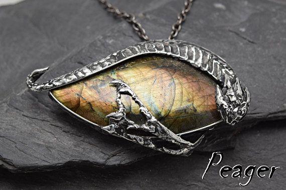 Labradorite Dragon necklaceSpectrolite necklaceMen