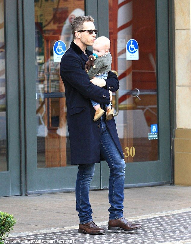 Family time: Her husband Josh Dallas and their six-month-old son Hugo was also with them