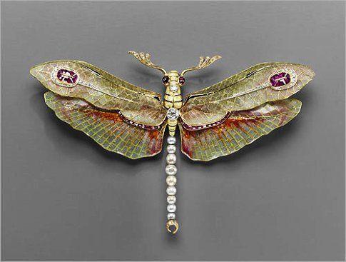 Art Nouveau Dragonfly Brooch - Enamel, Diamonds, Pearls & Rubies