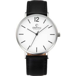 OBAKU Mark - black // Stainless steel watch with a black leather strap