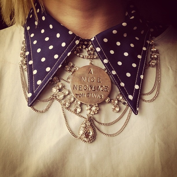 Such a fun, kitschy idea for a blingin' statement necklace. #stylePolka Dots, Statement Necklaces, Binns Necklaces, Nice Necklaces, Tom Binns, Collars Necklaces, Jewelry Ideas, Vintage Necklaces, Fashion Finding