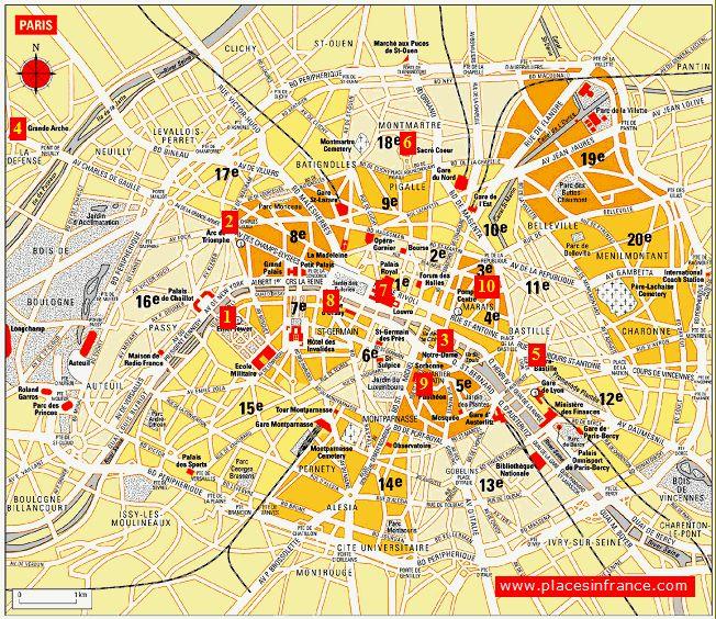 Map of Paris France  Paris Tourist Attractions Map  smart