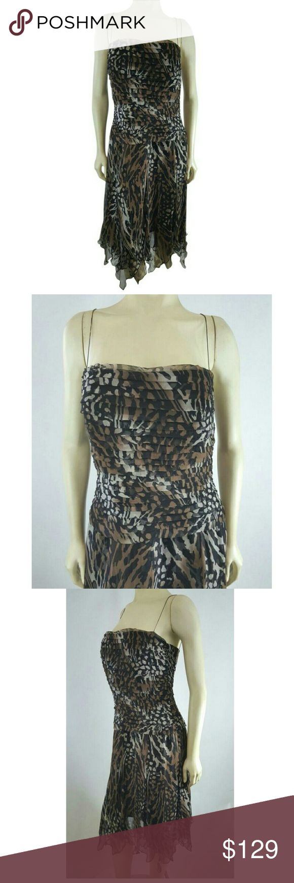 """Tadashi Shoji Silk Pleated Animal Print FormaDress Lined  pit to pit 17"""", around waist 29"""", around hips 39"""", length (armpit to bottom hem) 33-36"""" (variance in asymmetrical hem)   Gorgeous pure crepe silk brown, black and white animal print cocktail evening dress. Spaghetti straps (not adjustable), back center zip-up and hook closure, pleated bodice, cascading asymmetrical ruffled hemline. Beautiful look for that special occasion.  Excellent preowned. Tadashi Shoji Dresses Midi"""