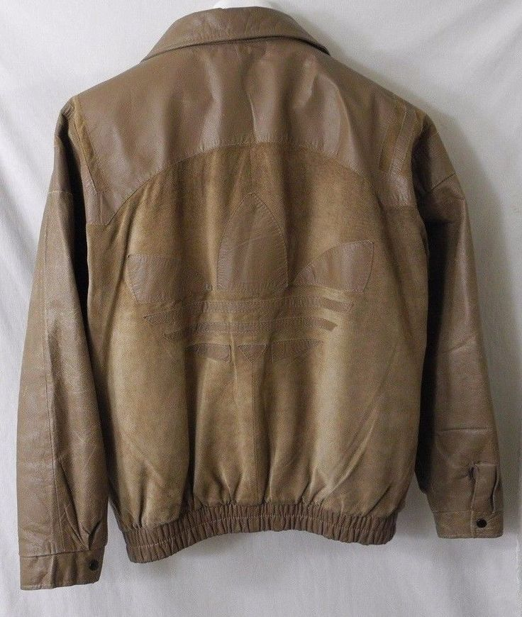 Vtg Adidas Leather Jacket Coat Trefoil Full Zip Distressed Medium Streetwear #adidas #FlightBomber
