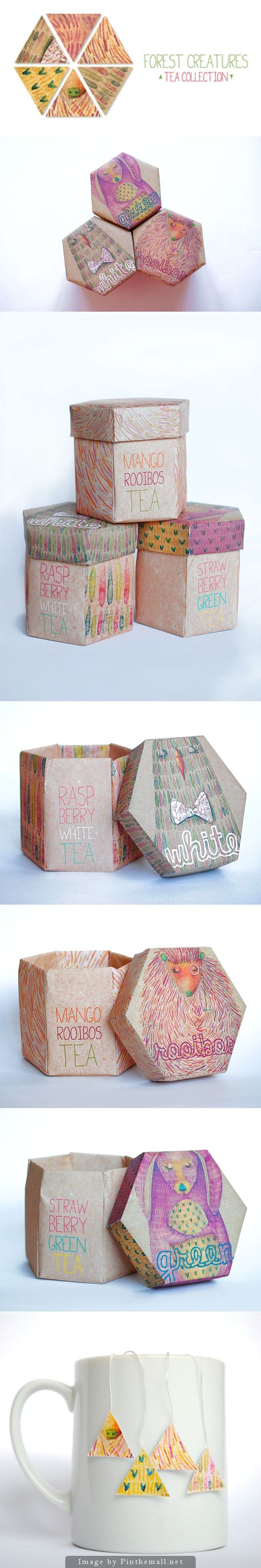 Packaging / Forest creatures tea collection PD #creative #packaging / pinned by www.amgdesign.co.nz