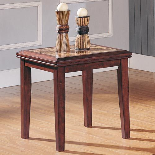 Espresso Faux Marble-Top End Table