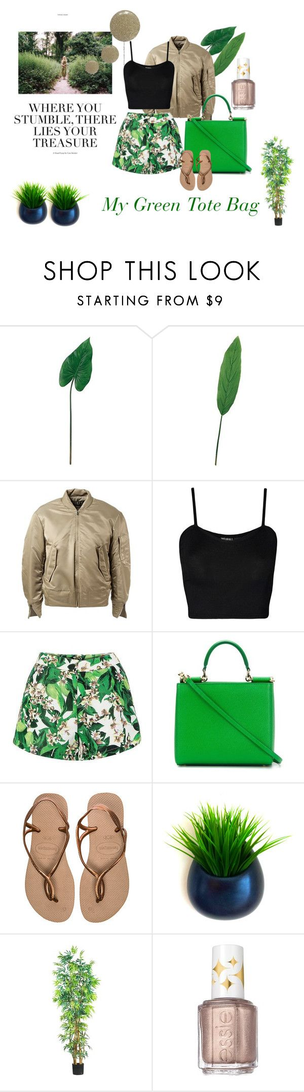 """""""My Green Tote Bag"""" by stephanie-hafkamp ❤ liked on Polyvore featuring Laura Cole, adidas Originals, WearAll, Dolce&Gabbana, Havaianas, Nearly Natural, Essie, Topshop, women's clothing and women's fashion"""