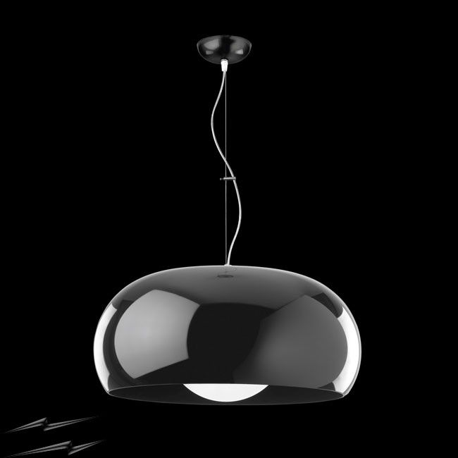Balun Pendant Ceiling Light in Opaque Black Shade with Opal White Globe Lens. Available in stock at Sparks and online at www.sparksdirect.co.uk