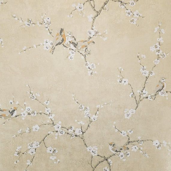 Birds and Blossoms on Shimmering Gold Wallpaper HP0324 Sold