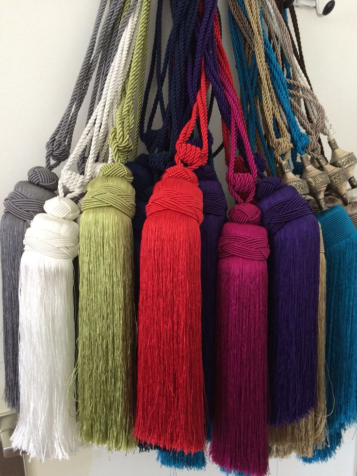 Curtain tassels in various colors. Red,white,lime,fuschia,purple, grey, blue (€15,-) a set