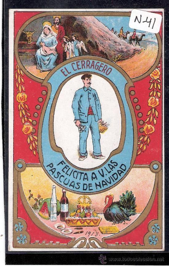 FELICITACION ANTIGUA NAVIDAD OFICIOS - EL CERRAJERO - VER REVERSO - ( N-41 ) - Foto 1