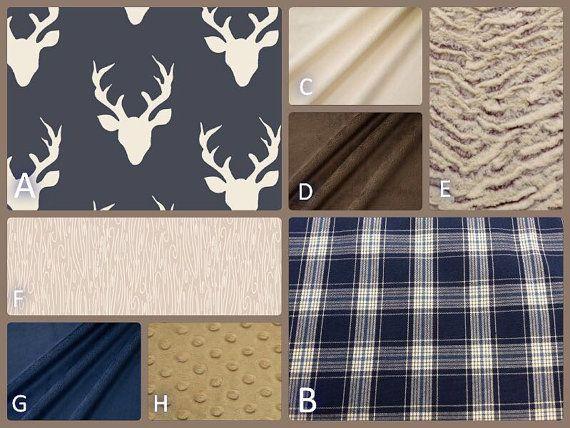 Rustic Baby Bedding-Navy Deer-Woodland Nursery-Stag, Plaid-Navy,tan,brown, Taupe-Crib Skirt, Minky Blanket - Baby or Toddler Bedding Sets