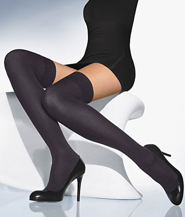 Golden Girl Black Opaque Thigh High Stockings - 3 Pair Pack