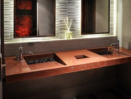 Commercial Restroom Design Ideas Featuring Sloping Sinks Warm Earthy Color Tones And Clean Lines This