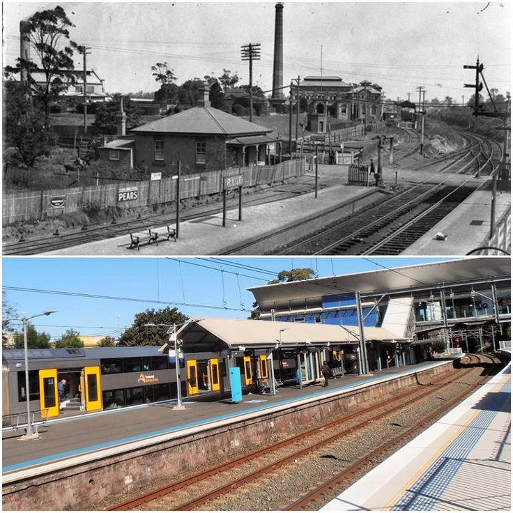 (West) Ryde Railway Station c1927 > 2016. [State Library NSW > Kevin Sundgren. By Kevin Sundgren]