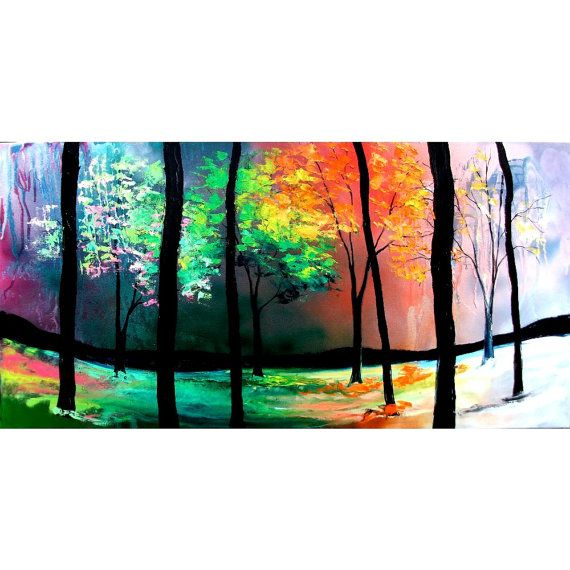 Oil painting landscape original huge forest by Aja The Four Seasons 24x48 inches