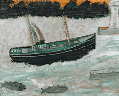 """""""Lighthouse with Trawler and Fish"""" by Alfred Wallis"""