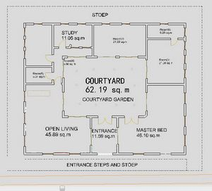 Small house plans courtyard ranch houses house plans for House plans with atrium in center
