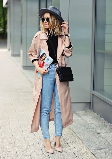 Get this look: http://lb.nu/look/8238765  More looks by Emily Imagination: http://lb.nu/emilyimagination  Items in this look:  Topshop Shoes, Pull & Bear Mom Jeans, Front Row Shop Coat, Ray Ban Sunglasses, Daniel Wellington Watch   #chic #minimal #street