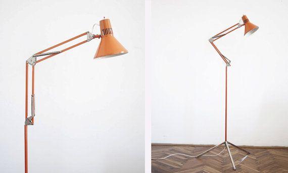 Vintage Tripod Orange Floor Lamp / Architects Eames Era Industrial Spring Arm Task Light / Clamp Light / 1970s Retro Decor
