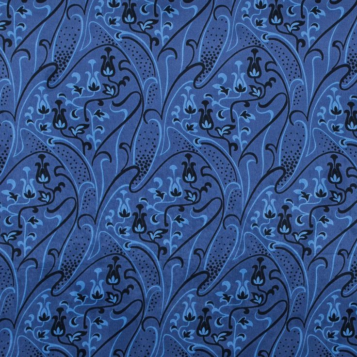 Deep Cobalt and Black Floral Printed Silk Charmeuse