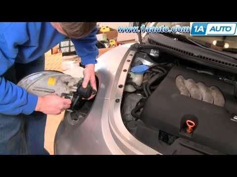 ▶ How To Install Replace Headlight and Bulb Volkswagen Beetle 98-05 1AAuto.com - YouTube