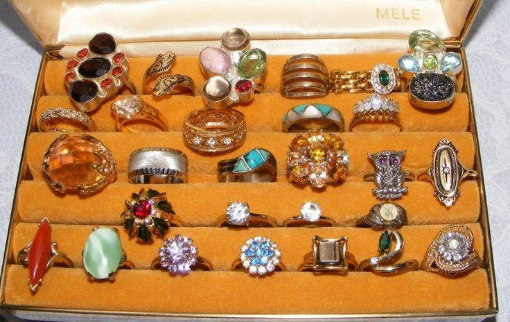 Vintage to Now RING lot #2 28 costume rings sterling sarah cov Avon Rhinestones  #various