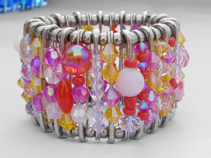 Safety Pin Bracelet  Summer Sunset by HannahsAccessories on Etsy, $37.00