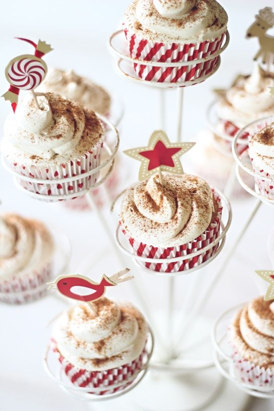 Egg nog cupcakes with sweet whipped egg nog frosting
