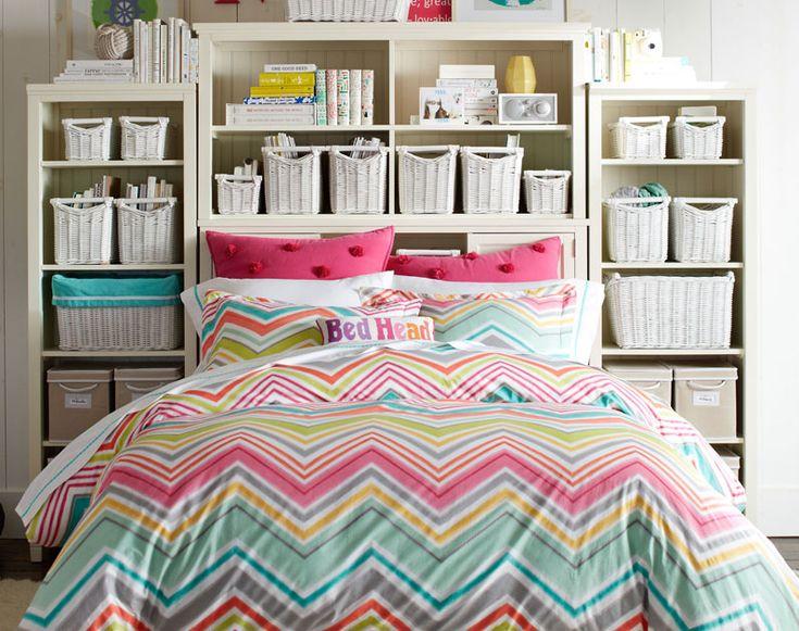 Teenage girl bedroom ideas storage furniture pbteen for Comforter storage ideas