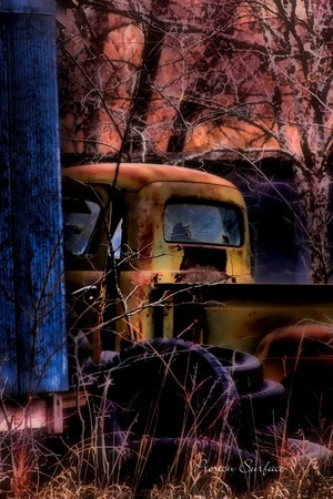 old truck and tires  Surface and Surface Photography
