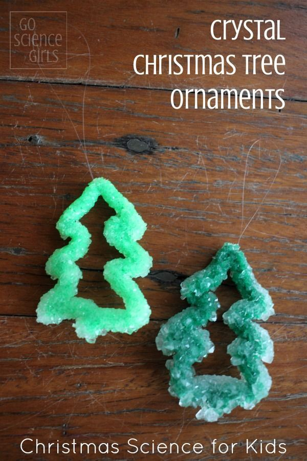 DIY cystal Christmas tree ornaments - Christmas science craft project for kids
