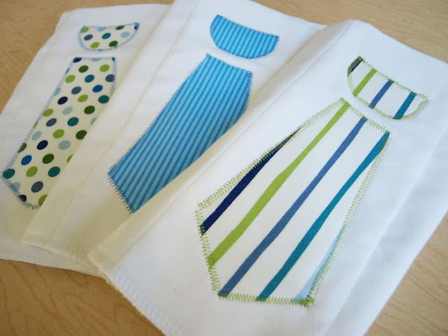 DIY Neck Tie Burp Cloths - made with pre-folded cloth diapers, fabric and Heat n Bond