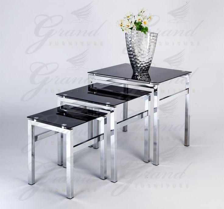 Elsa Modern Gl Nest Of Tables Black 3 Lamp Side Coffee Table Set Living Room Furniture Pinterest And Salons