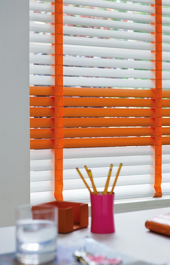 Refresh your office look with this made to measure  white & orange office blind | Bolton Blinds Wooden Blinds For Your Windows |