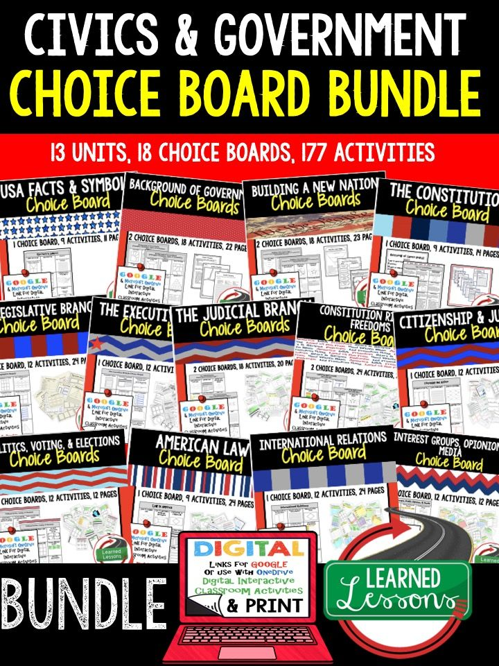 Civics Activities, Civics Digital Graphic Organizers, Civics Choice Boards, US Facts and Symbols, Background of Government, Constitution, Legislative Branch, Executive Branch, Judicial Branch, Constitutional Rights, Freedoms, American Law, Citizenship, Politics, Voting, Elections, International Relations